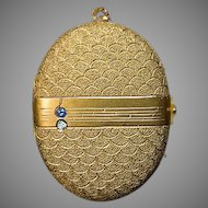 Vintage Jeweled 14k Gold Locket Pendant