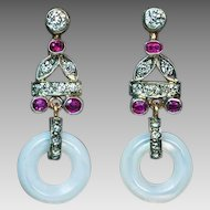 Art Deco Vintage Mother-of-Pearl, Diamond and Ruby Dangling Earrings