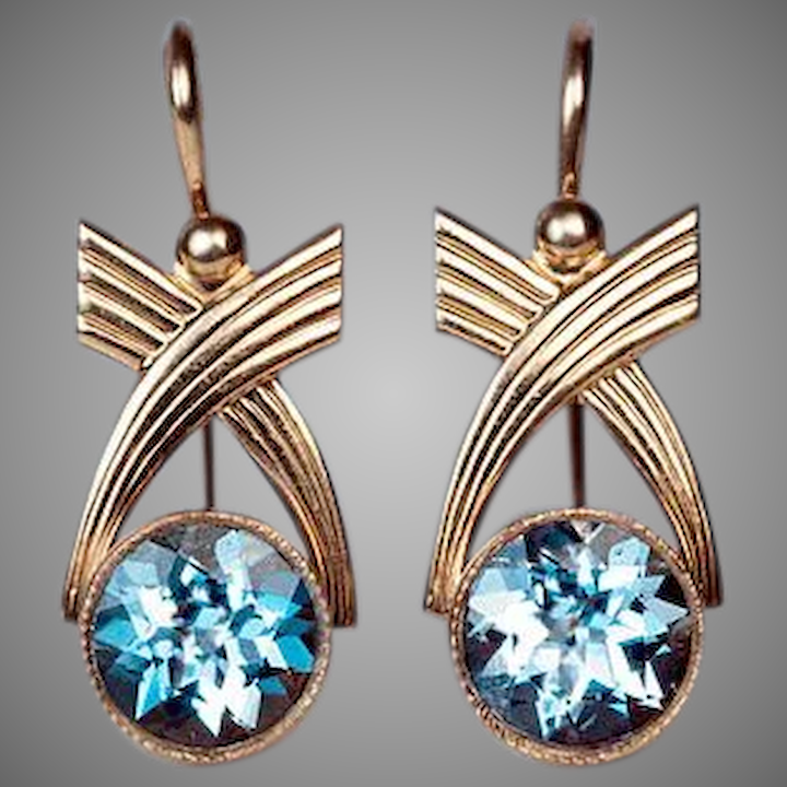 29934232b7eeb Vintage Art Deco Aquamarine and 14k Gold Earrings