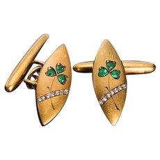 Antique Art Nouveau Emerald, Diamond and 14K Gold Cufflinks