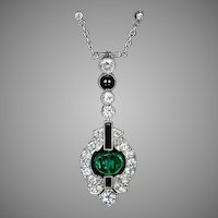 Art Deco Emerald, Diamond and Onyx Necklace