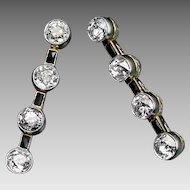 Art Deco Diamond and Onyx Long Earrings