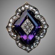 Antique Victorian Amethyst, Diamond and 14K Gold Ring