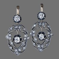 Antique Old Cut Diamond Openwork Dangle Earrings