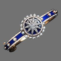 Antique Georgian Enamel Diamond Pearl Bracelet