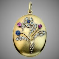 Antique Russian Sapphire Ruby Rose Diamond 14K Gold Locket Pendant