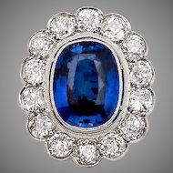 Antique Sapphire Diamond Cluster Engagement Ring in Platinum