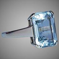 Vintage 6 Ct Aquamarine 14K Gold Ring