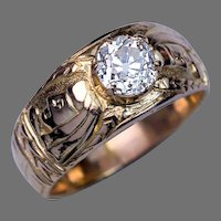Unusual Antique Diamond Chased 14K Gold Men's Ring