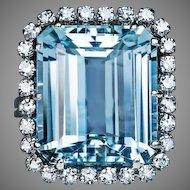 Vintage 12.55 Ct Aquamarine Diamond Cluster Ring