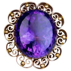 Victorian Era Russian Amethyst 14K Gold Brooch Pin