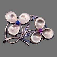 Antique Art Nouveau Ruby Sapphire Diamond Clover Brooch