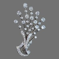 Vintage 1920s 6.50 Ctw Diamond Platinum 18K Gold French Floral Brooch Pendant