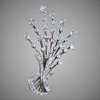 Vintage 1920s 6.50 Ctw Diamond Platinum 18K Gold French Floral Brooch Pendant