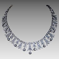 42 Ct Tw Vintage Diamond Fringe Necklace Early 1900s