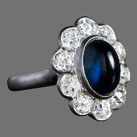 Vintage Cabochon Sapphire Diamond Platinum Engagement Cluster Ring