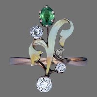 Art Nouveau Antique Demantoid Diamond Enamel Flower 14K Gold Ring