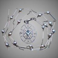 Art Deco Vintage Aquamarine Platinum 18K Gold Necklace