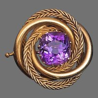 Antique Russian Amethyst 14K Gold Love Knot Brooch Pin