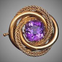 Antique Russian Amethyst 14K Gold Love Knot Brooch Pin