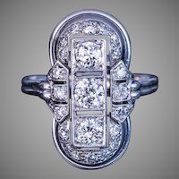 Russian Art Deco Platinum Diamond Engagement Ring 1930s