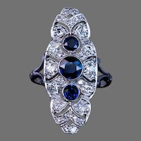Art Deco Vintage Sapphire Diamond Platinum Cocktail Ring
