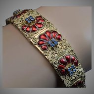 Vintage Italian Filigree 18K Gold, Enamel, Sapphire Bracelet