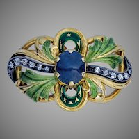 Art Nouveau Antique Sapphire Diamond Enamel Gold Brooch