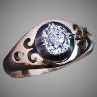 Antique 1.17 Ct Old Mine Cut Diamond Unisex Ring