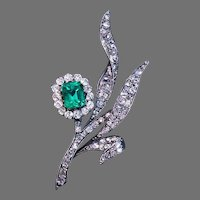 Belle Epoque Antique Emerald and Diamond Flower Brooch Pin