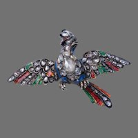 Antique Georgian c. 1750 Diamond Enamel Bird of Paradise Brooch Pin