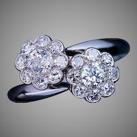 Vintage Diamond Double Cluster Bypass Engagement Ring