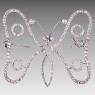 Art Nouveau Antique Diamond Butterfly Brooch Pin c. 1900