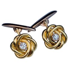Antique Russian Diamond 14k Gold Knot Cufflinks