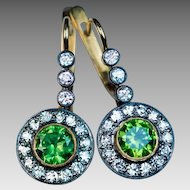Rare Russian Demantoid and Diamond Drop Earrings