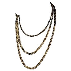 Antique Russian 14K Gold Flat Link Chain Necklace