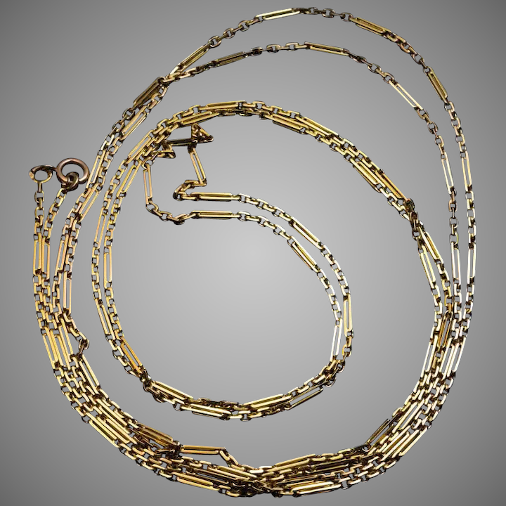 72265bf0c5f Antique Russian 72 in. Oblong Link 14k Gold Necklace