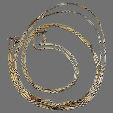 Antique Russian 72 in. Oblong Link 14k Gold Necklace