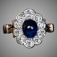 Antique Cabochon Sapphire Diamond Engagement Ring