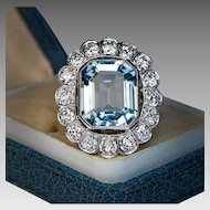 Vintage Aquamarine Diamond Platinum Cluster Ring