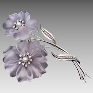 Vintage Rock Crystal Diamond Pearl Flower Brooch