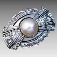 Art Deco Vintage Bow Motif Pearl Diamond 14k White Gold Ring