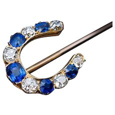 Antique Sapphire Diamond Horseshoe Stick Pin