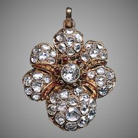 Victorian Era Antique 7 Ct Rose Cut Diamond 14k Gold Pendant