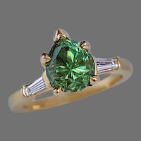 Rare 2.85 Ct Russian Demantoid Garnet Diamond 18K Gold Ring