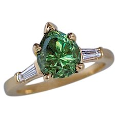 Rare 2.85 Ct Russian Demantoid Garnet Diamond 18K Gold Ring