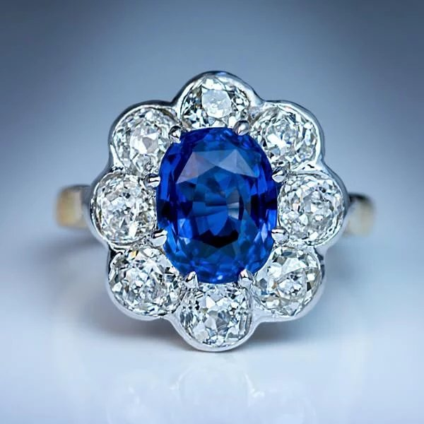 Antique French Sapphire Diamond Platinum 18k Gold