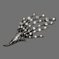 Large Antique French Pearl and Diamond Brooch / Pendant