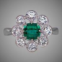 Vintage Emerald Diamond 14K White Gold Engagement Ring