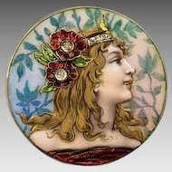Exceptional Quality Art Nouveau Enameled 14 k Gold Brooch